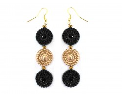 Black Gold Beaded Circle Stack Hook Earrings