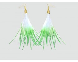 Green Tips Small Feather Gold Hook Earrings