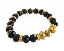 Black Gold Crystal Stretch Bracelet