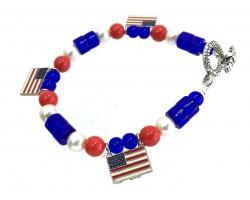 USA Flag Beaded Charm Stretch Toggle Bracelet